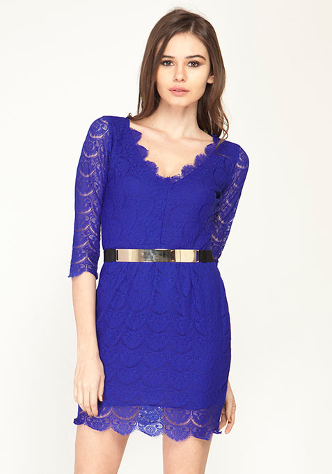 Blue Luxe Lace Dress