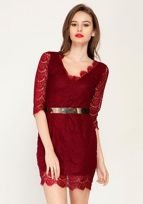Oxblood Luxe Lace Dress