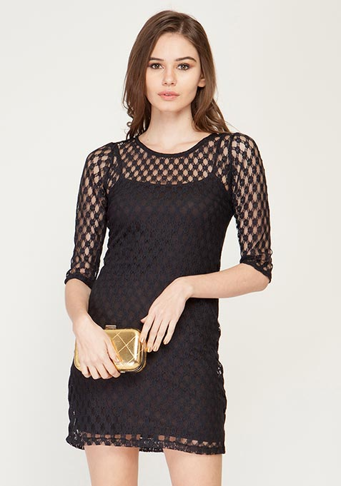 Lace Spiral Bodycon Dress
