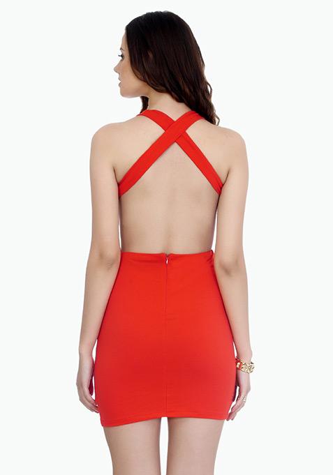 Strappy Back Bodycon Dress - Orange