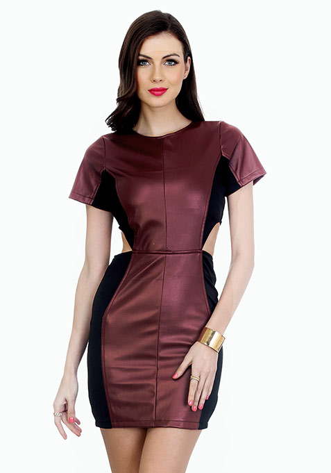 Oxblood On Bodycon Mini Dress