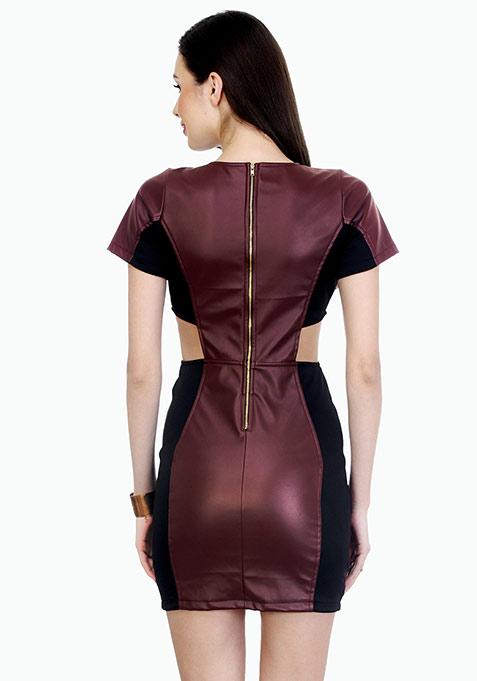 Oxblood On Bodycon Mini Dress