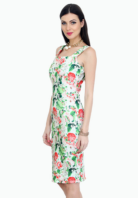 Floral Vibes Scuba Bodycon Midi Dress