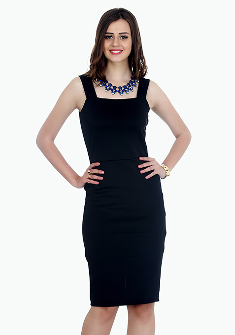Classy Lady Midi Dress - Black