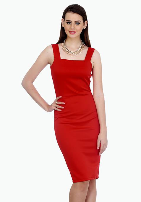 Classy Lady Midi Dress - Red