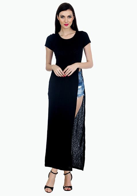 Extreme Slit Maxi T-Shirt Dress - Black