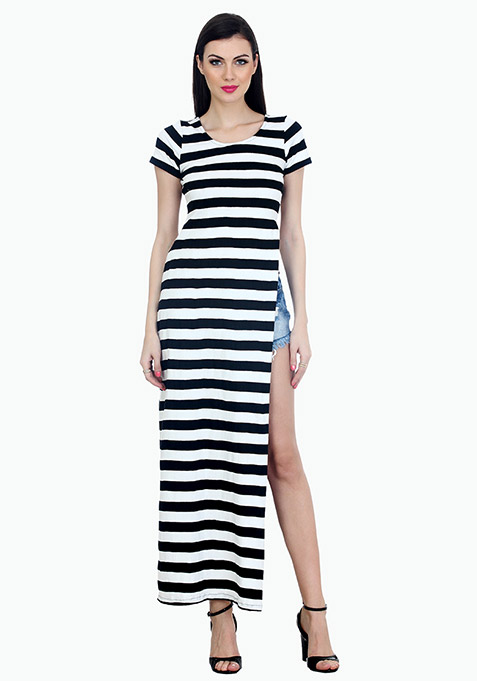 Extreme Slit Maxi T-Shirt Dress - Stripes