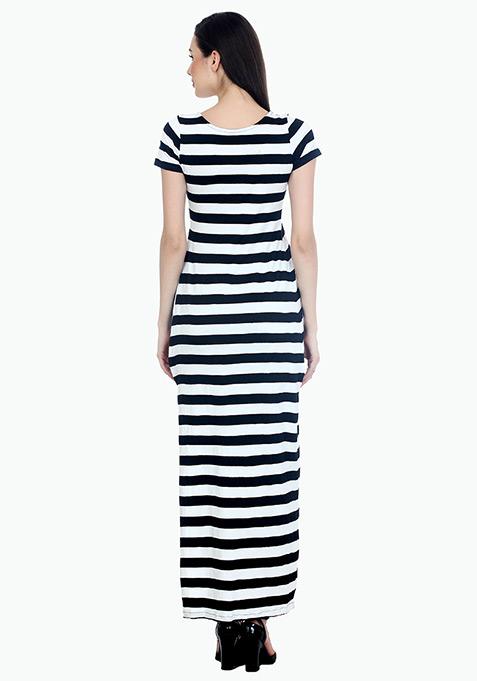 Extreme Slit Maxi T-Shirt Dress - Stripes