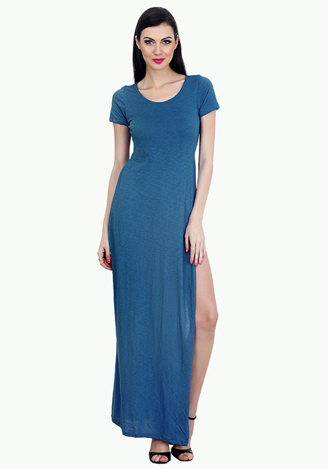 Extreme Slit Maxi T-Shirt Dress - Blue