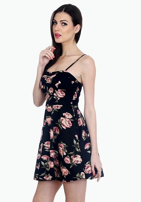 Far Out Bustier Skater Dress - Rose