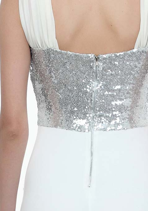 Dazzling Front Bodycon Dress - White