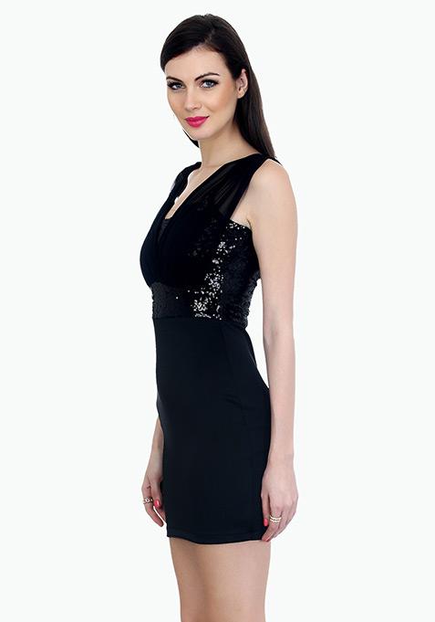 Dazzling Front Bodycon Dress - Black