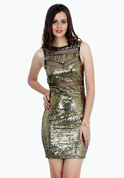 Dancing Sequins Bodycon Dress - Copper