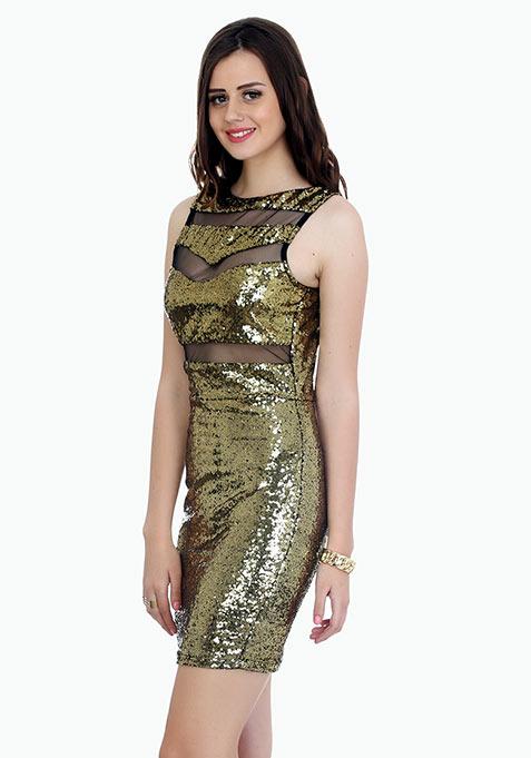 Dancing Sequins Bodycon Dress - Copper
