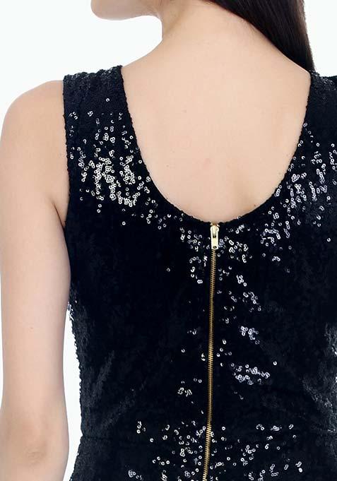 Dancing Sequins Bodycon Dress - Black