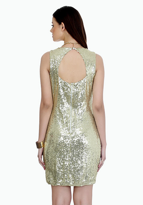 Disco Cut Champagne Dress - Champagne