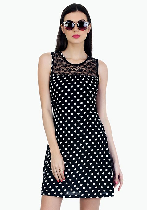 Lacy Polka Skater Dress