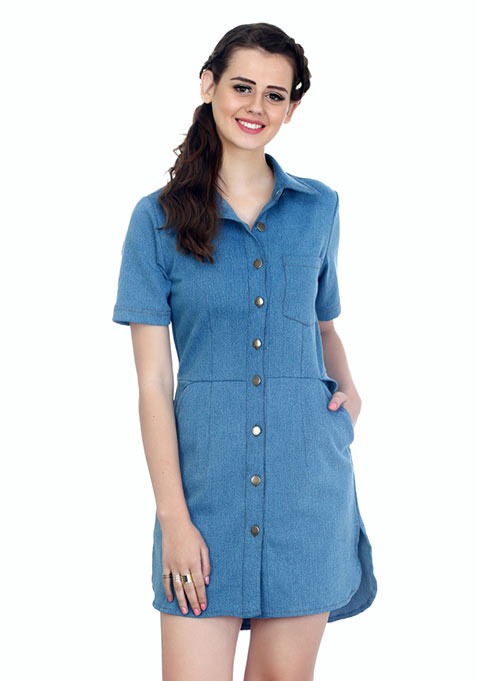 Soldier On Light Denim Shirt Dress
