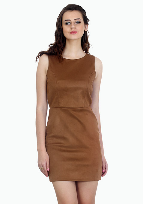 Uptown Suede Bodycon Dress - Camel