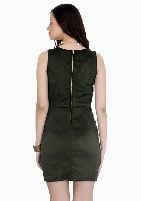 Uptown Suede Bodycon Dress - Olive