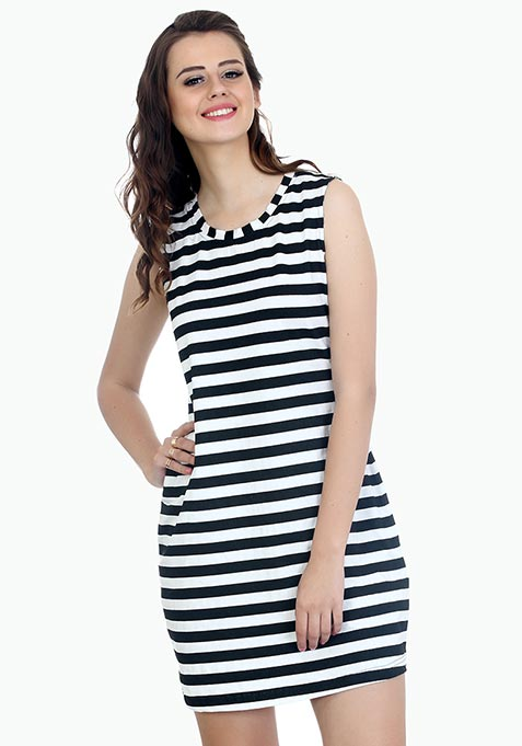 Sporty Striped T-Shirt Dress