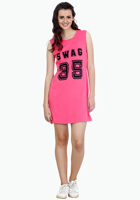 Swag On T-Shirt Dress - Pink