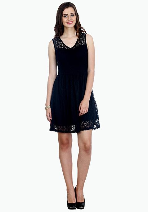 Strappy Lace Skater Dress - Black