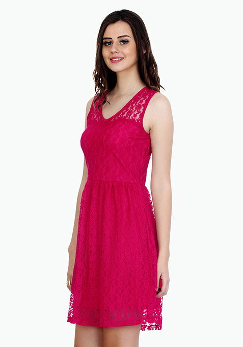 Strappy Lace Skater Dress - Pink