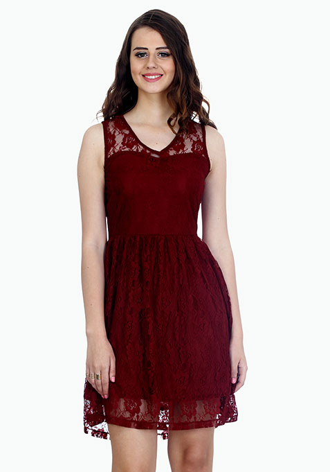 Strappy Lace Skater Dress - Marsala