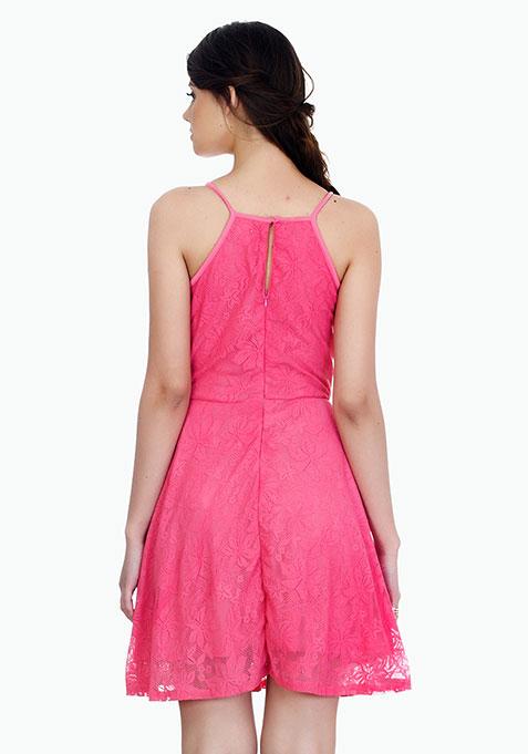 Straps Ahoy Skater Dress - Pink