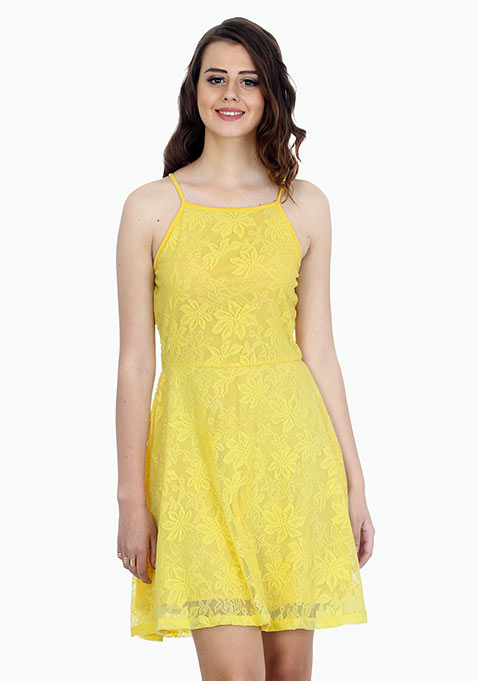 Straps Ahoy Skater Dress - Lemon
