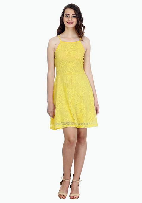 Straps Ahoy Skater Dress - Lemon
