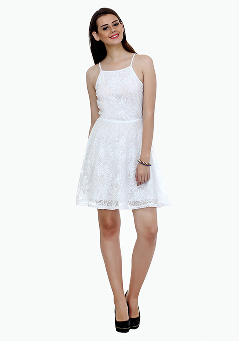 Straps Ahoy Skater Dress - White