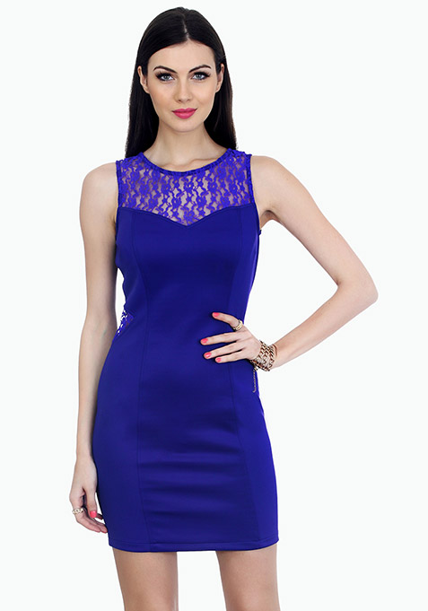 Curvy Dreams Bodycon Dress - Blue
