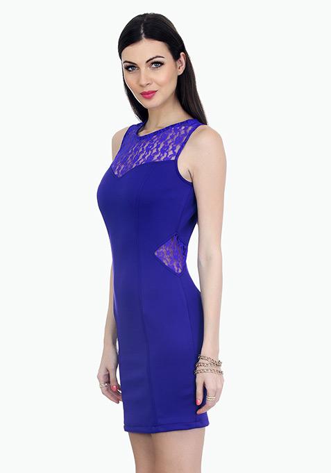 Curvy Dreams Bodycon Dress - Blue