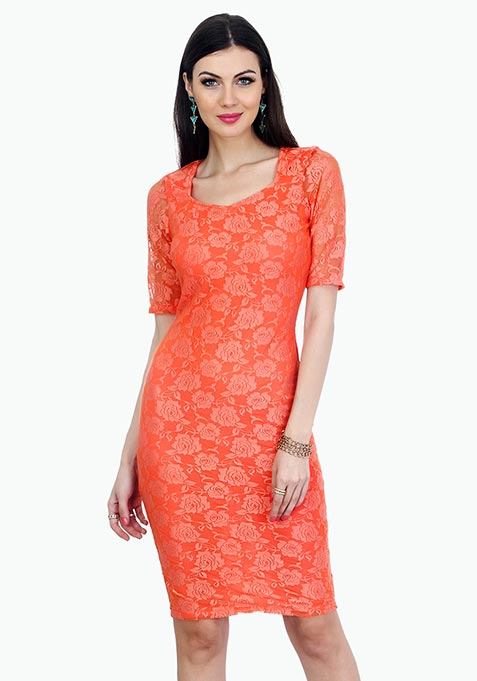 Rose Delight Midi Dress - Peach