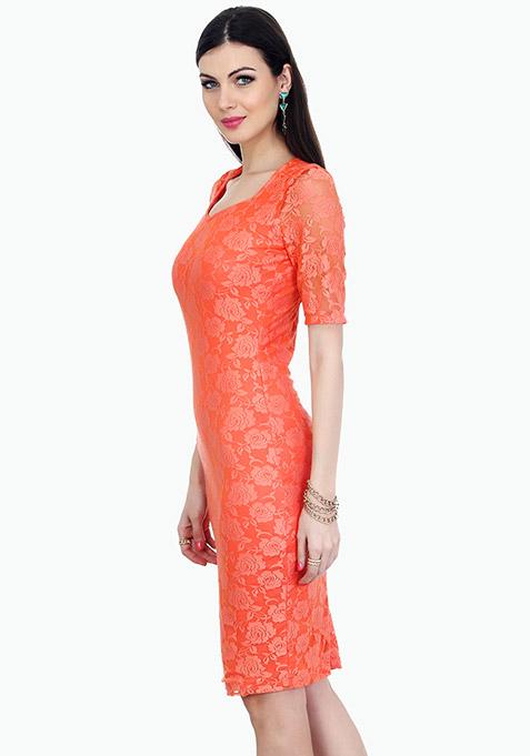 Rose Delight Midi Dress - Peach