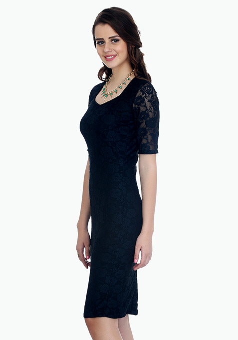 Rose Delight Midi Dress - Black