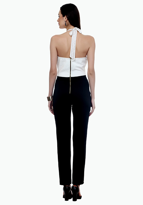 Halter Nights Scuba Jumpsuit - White