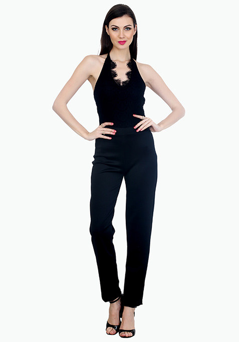 Halter Nights Scuba Jumpsuit - Black