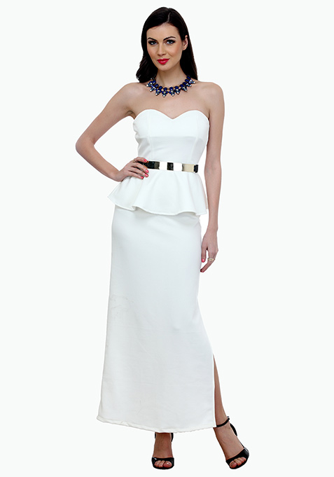 Elegant Peplum Maxi Dress - White