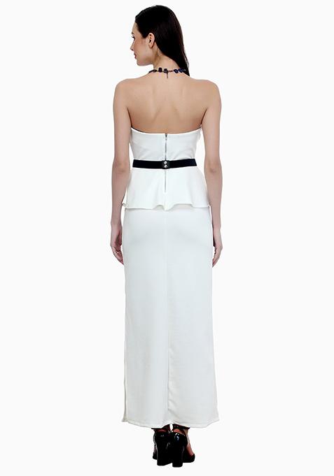 Elegant Peplum Maxi Dress - White
