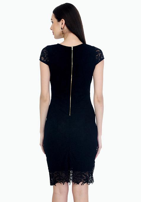 Front Cut Lace Bodycon Dress - Black