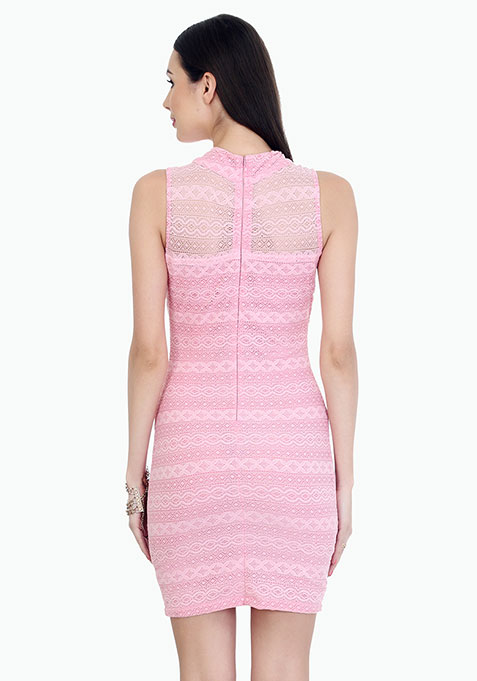 Aztec Lace Bodycon Dress - Pink