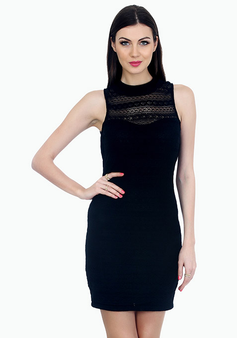 Aztec Lace Bodycon Dress - Black