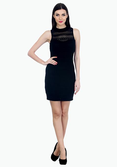 Aztec Lace Bodycon Dress - Black