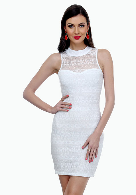 Aztec Lace Bodycon Dress - White