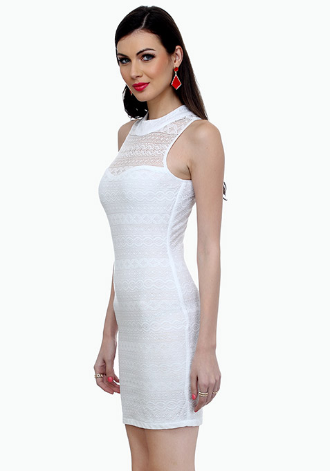 Aztec Lace Bodycon Dress - White