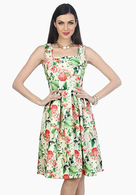 Floral Midi Circle Dress