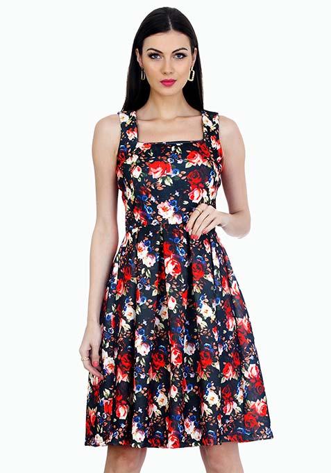 Floral Flare Scuba Midi Dress